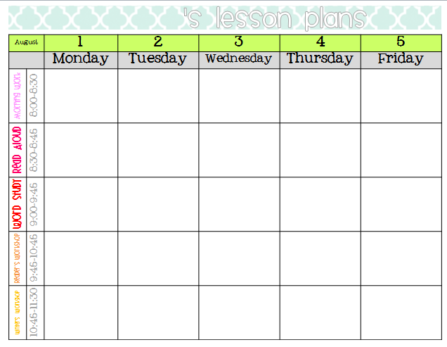 elementary weekly lesson plan template koni polycode co