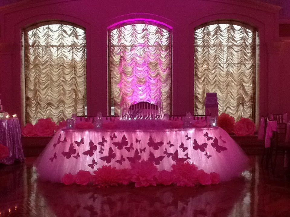 Delightful Rent Pink Butterfly Themed TuTu Tulle Table Skirting In NY NJ CT U0026 PA. Call
