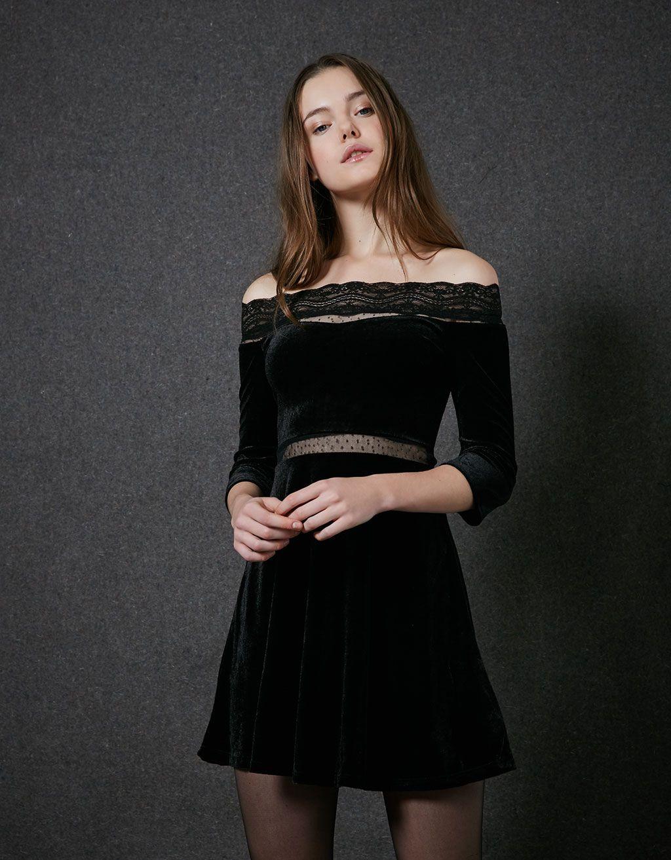 26252f6be Vestido BSK veludo | Models | Vestidos, Bershka y Vestidos de terciopelo