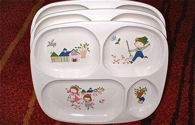 3 Vintage Melamine Divided Baby Feeding Plates Shin San Children S Plastic Ebay Baby Feeding Childrens Divider