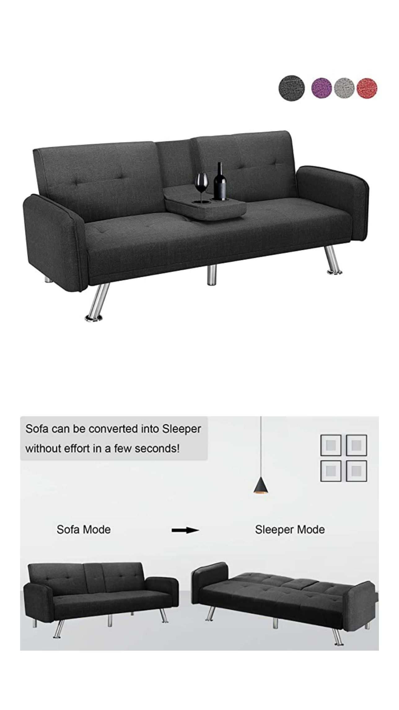 Futon Sofa Bed Modern Convertible Couch Sleeper Sofa With Armrest And Metal Legs Twin Size Folding In 2020 Couch Comfortable Futon Sofa Bed