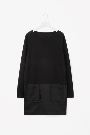 Merino dress with frill pockets