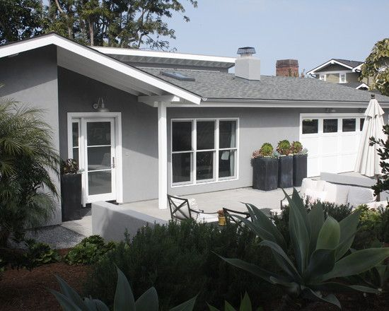 Grey and white house supporting more modern image modern landscape lush vegetations barbara house exterior view