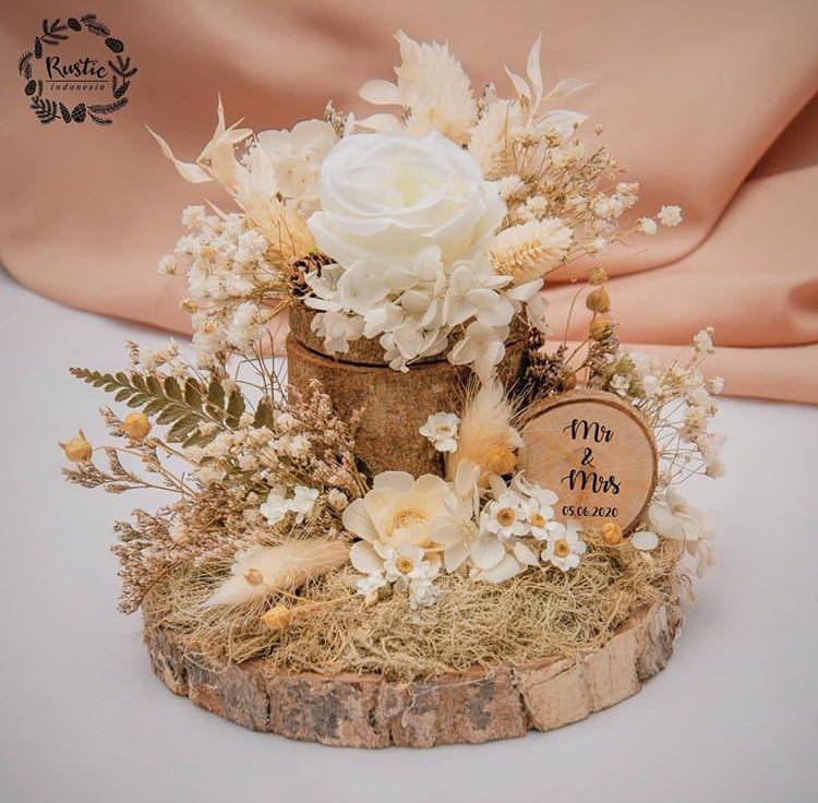 Kotak Cincin Nikah Kayu Rustic Cincin Bunga Kertas Perhiasan