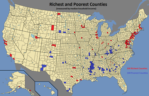 The 100 richest and 100 poorest counties in the US measured by