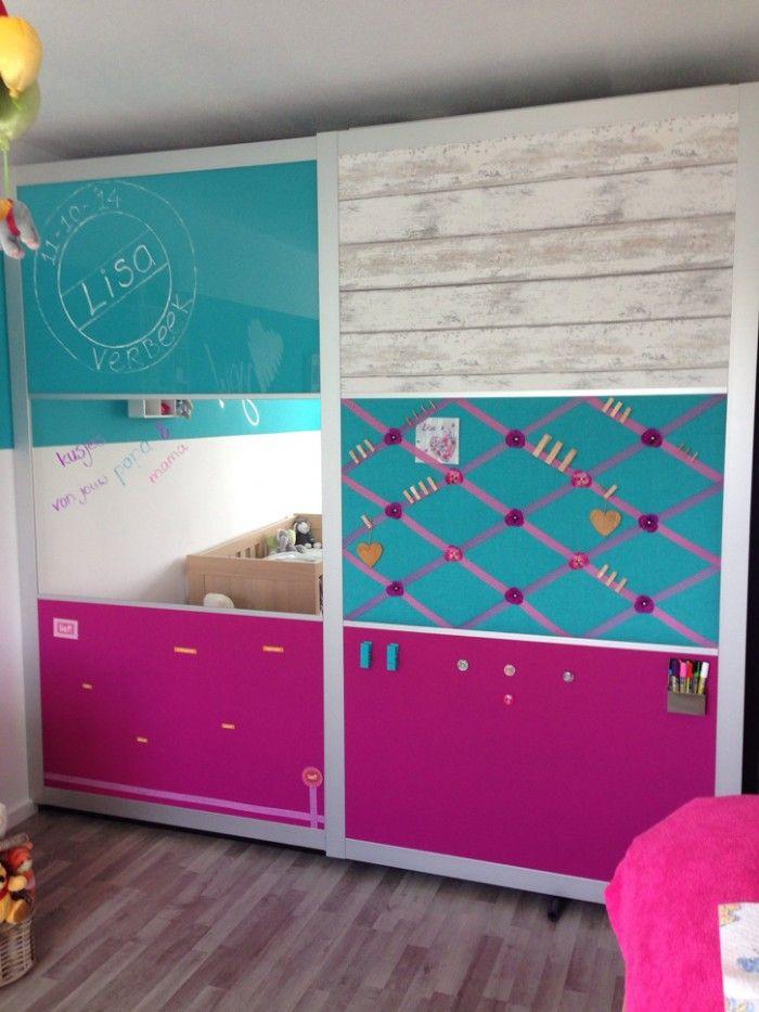 Ikea pax kast gepimt voor een babykamer ze hebben de melkglasplaten eruitgehaald en daarvoor - Kleur voor de slaapkamer van de meid ...