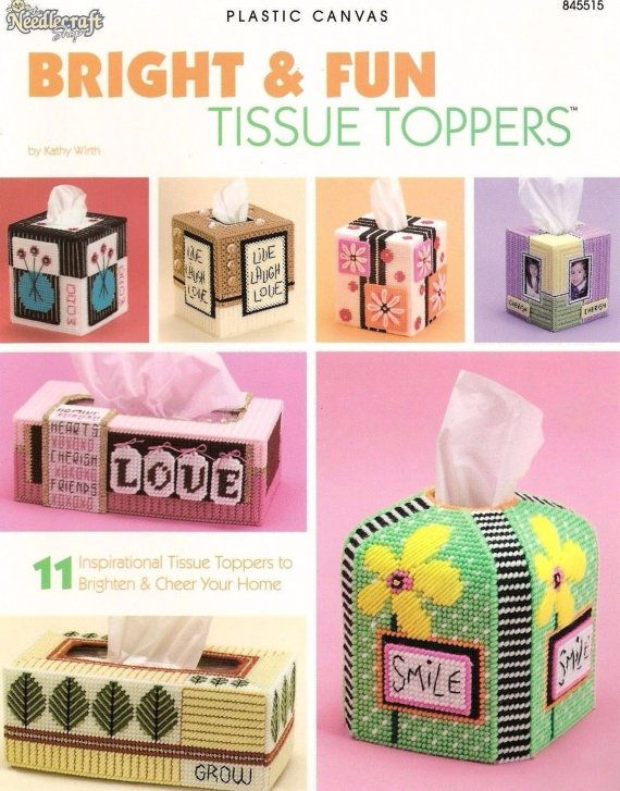 Bright & Fun Tissue Covers, Home Decor Plastic Canvas Pattern Booklet The Needlecraft Shop 845515