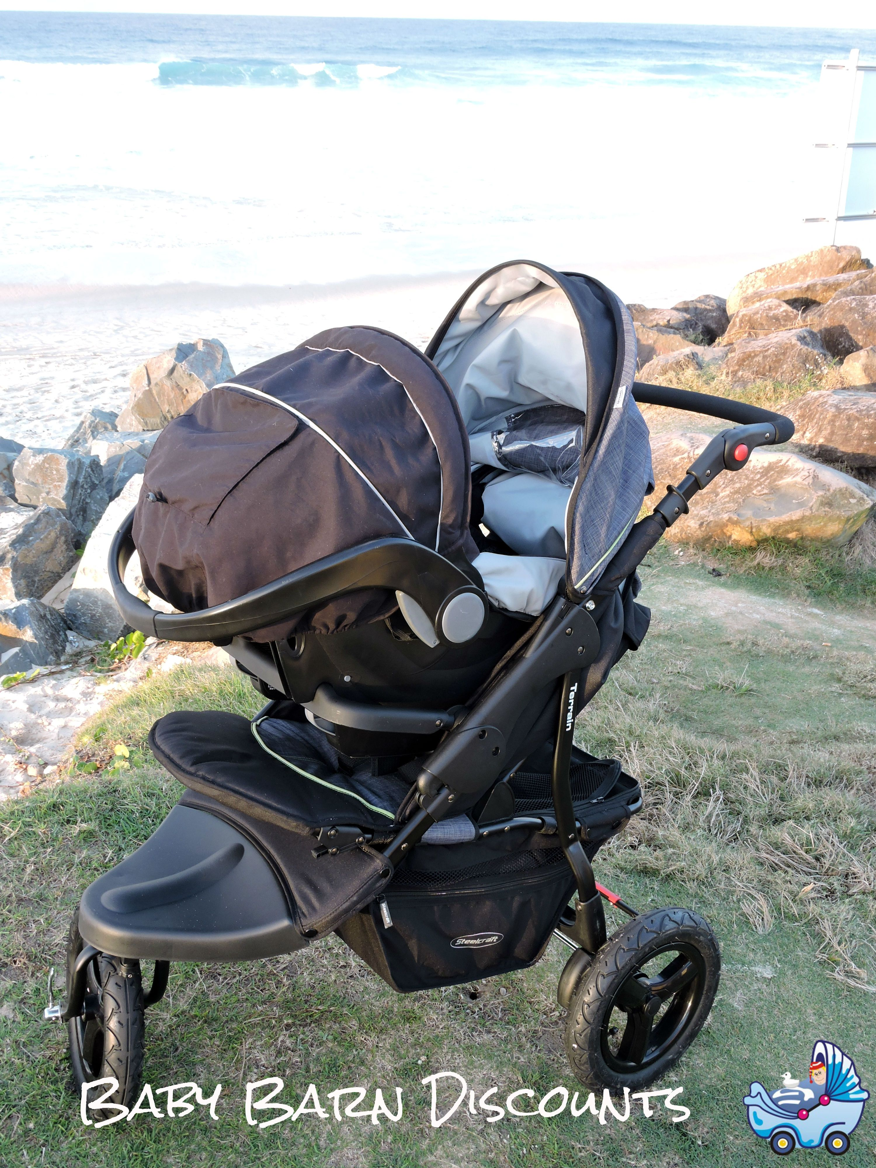 The Steelcraft Terrain stroller is also compatible with the Unity capsule infant carrier.