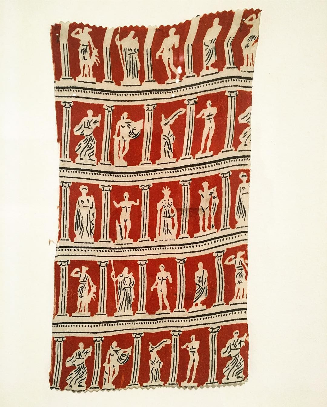 """Yiannis Tsarouchis' rare fabric design and print #yiannistsarouchis #fabric #design #print #benakimuseum #inspiration #greek #columns #colors #repetition #rythme #sample #statue #deepred #exhibition #influence #workofart #art #painter #spacelabarchitecture """"I draw as much as I can, it is something like training"""" Yiannis Tsarouchis words"""
