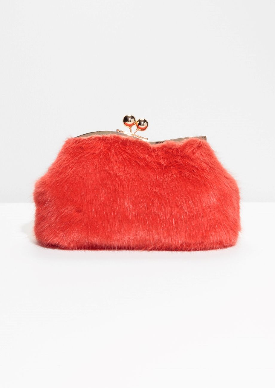 41faffeecc7f   Other Stories image 1 of Faux Fur Clutch in Red