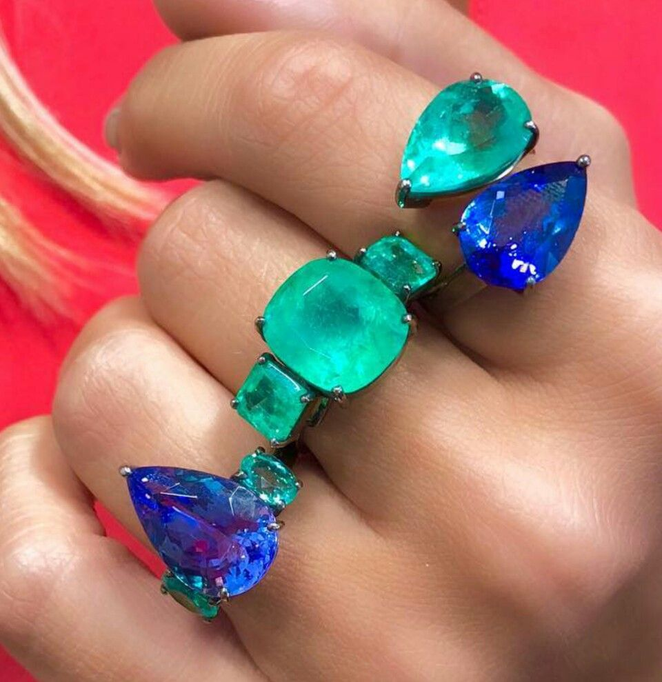Colombian emerald and tanzanite ring rings and things pinterest