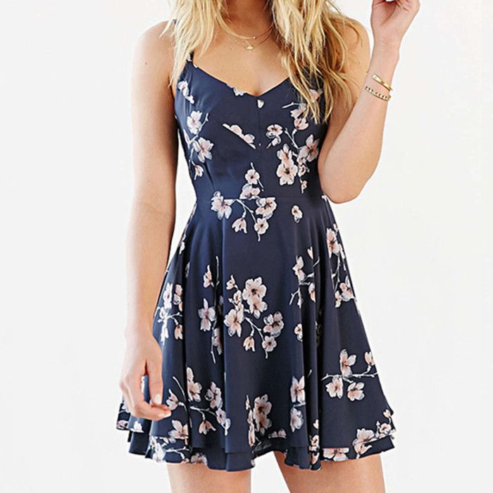 63165d28f0ef Long Walk Home Navy Blue White Floral Spaghetti Strap V Neck Backless  Chiffon Skater Circle A Line Flare Mini Dress - Total Street Style Looks  And Fashion ...