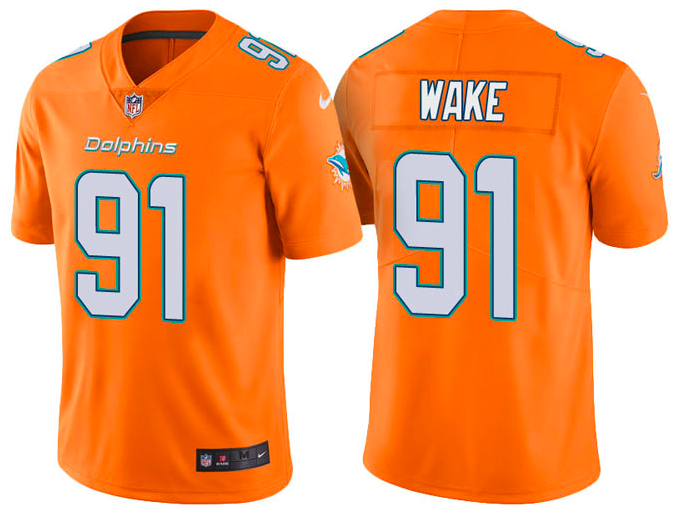 the best attitude db229 0593d Miami Dolphins Jersey - Cameron Wake Orange Rush Limited ...