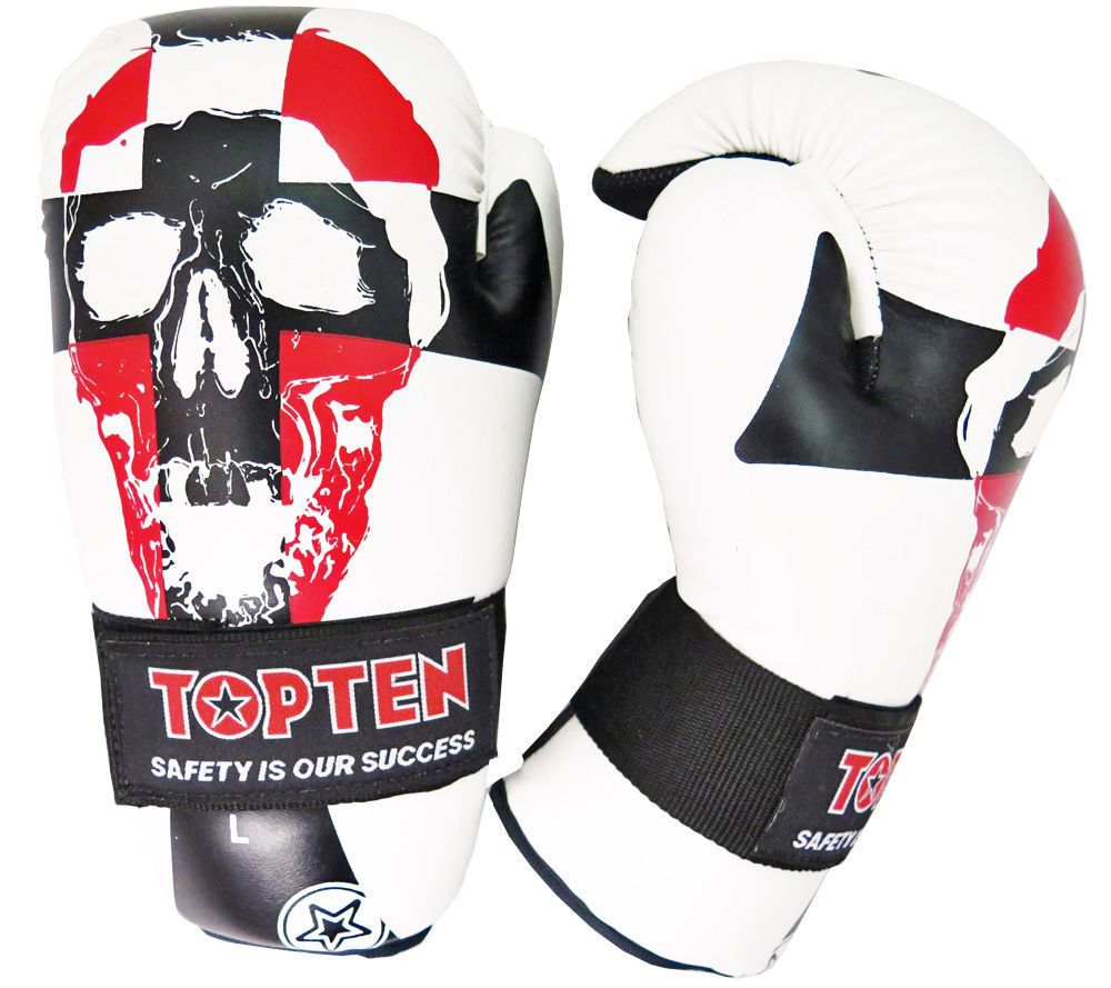Top Ten SKULL White/Black/Red Point Fighter Open Hand Gloves