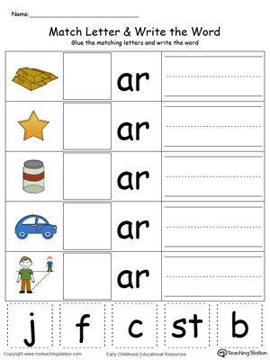 kindergarten building words printable worksheets  preschool  ar wordsar word familiesword familybeginning letter soundcvc wordsphonics  worksheetskindergarten worksheetstracing worksheets