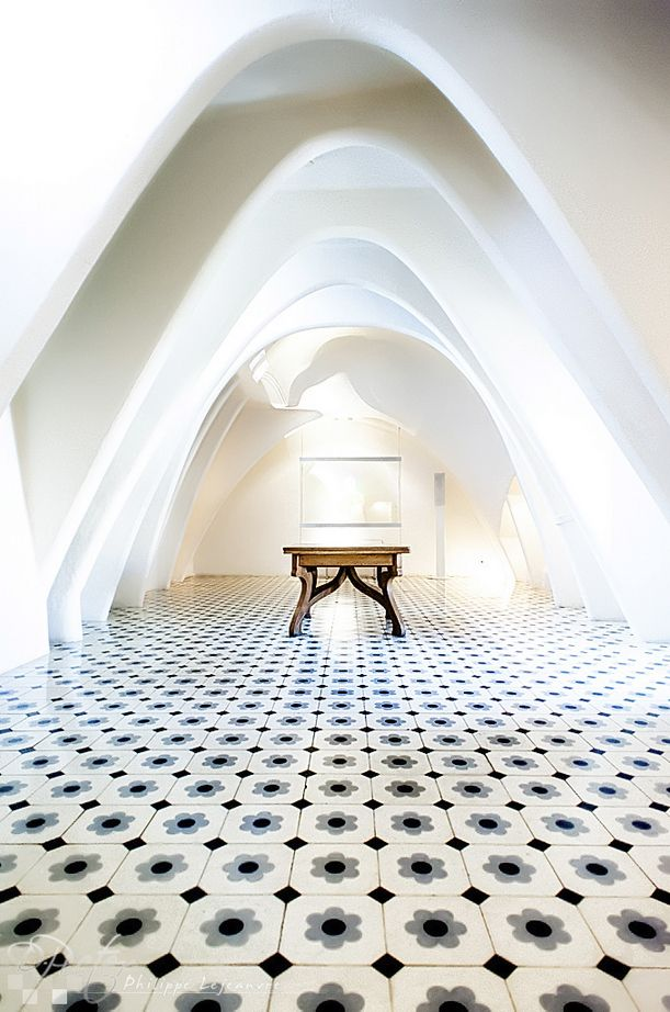 Sweetly patterned cement tiles line the attic at Antoni ...