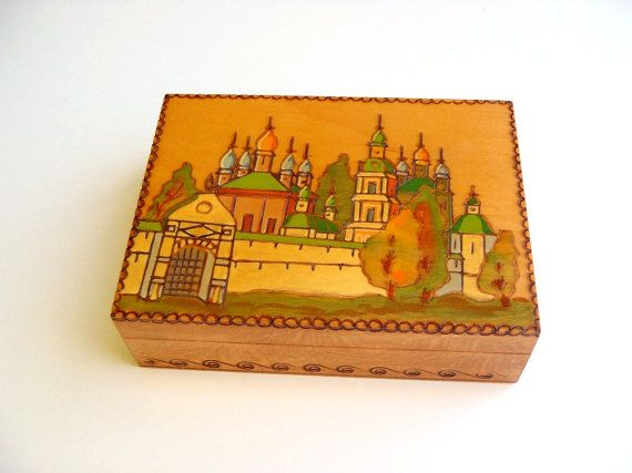 Vintage Wooden Box Russian Folk Art Pyrography With Hand