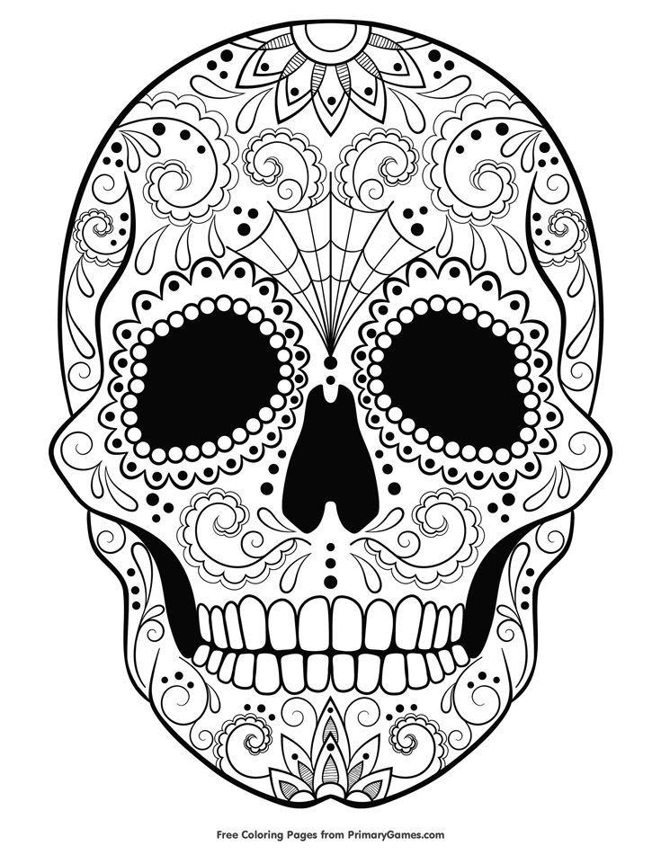 Sugar Skull Coloring Page Free Printable Ebook Skull Coloring Pages Witch Coloring Pages Mandala Coloring Pages