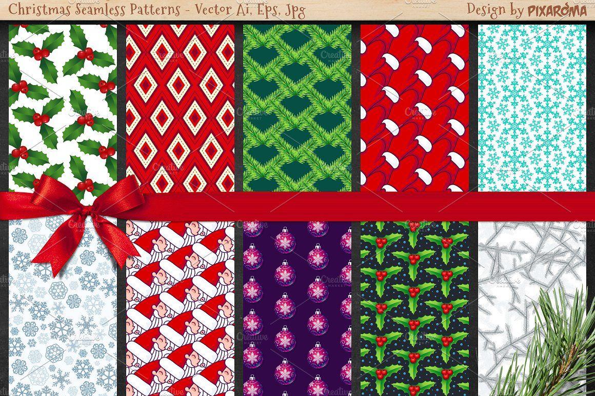 50 Christmas Seamless Patterns