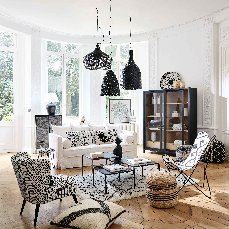 Fauteuil Papillon En Kilim Motifs Noirs Et Blancs Maisons Du Monde Deco Salon Deco Maison Deco Maison Du Monde