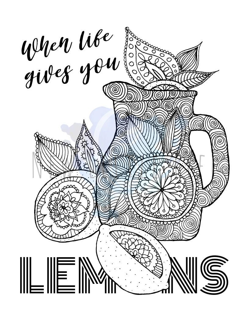 Lemonade Coloring Page Digital Download Adult Coloring