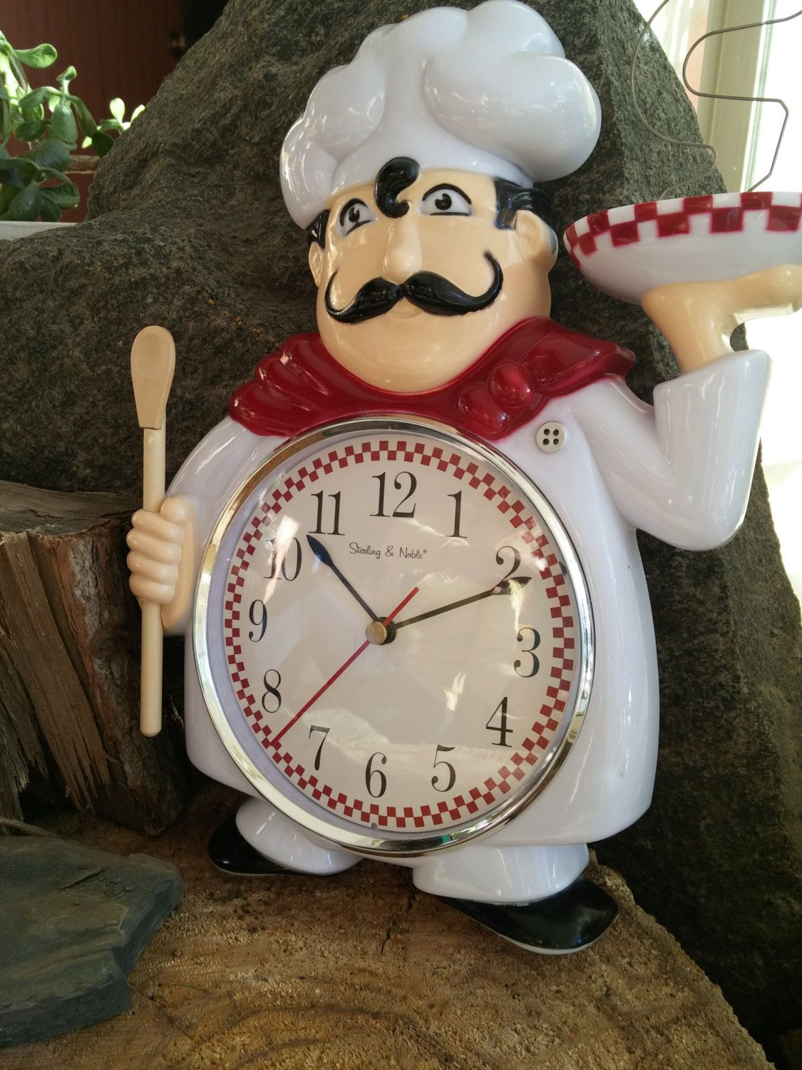 Chef Wall Clock Sterling And Noble Novelty Red And