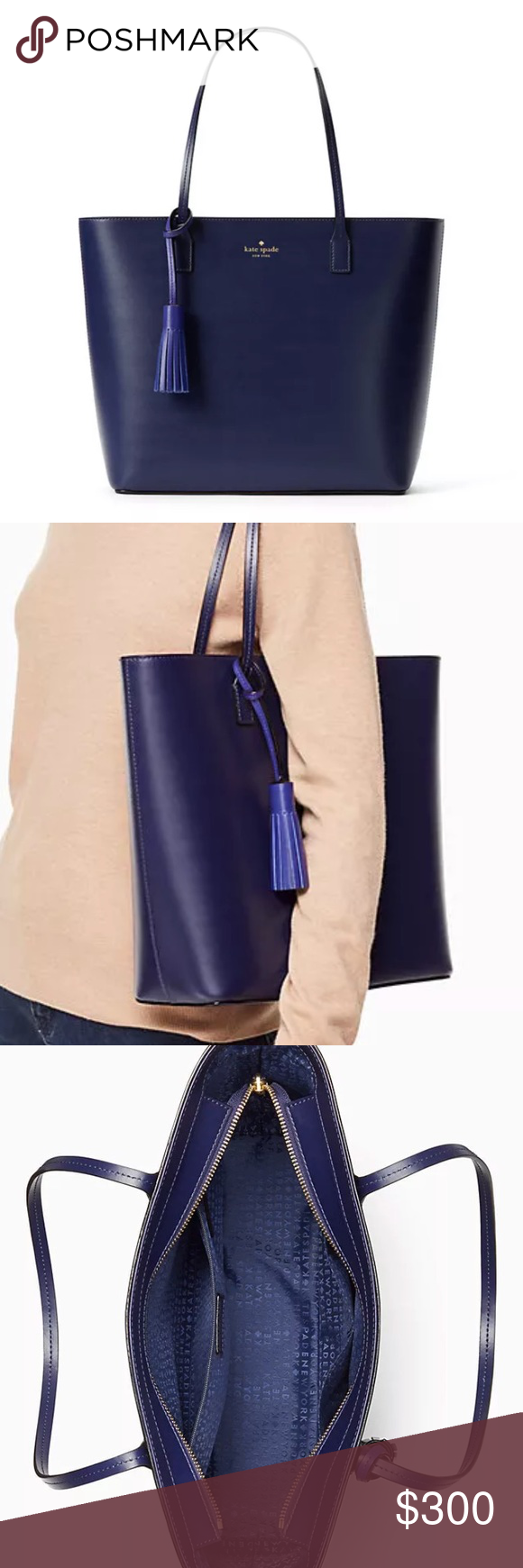 Kate spade wright place Karla dk blue tote nwt Brand new beautiful dark  blue shoulder bag. Zips shut with straps and tassel. Limited edition! 948a0ed6b9fdd