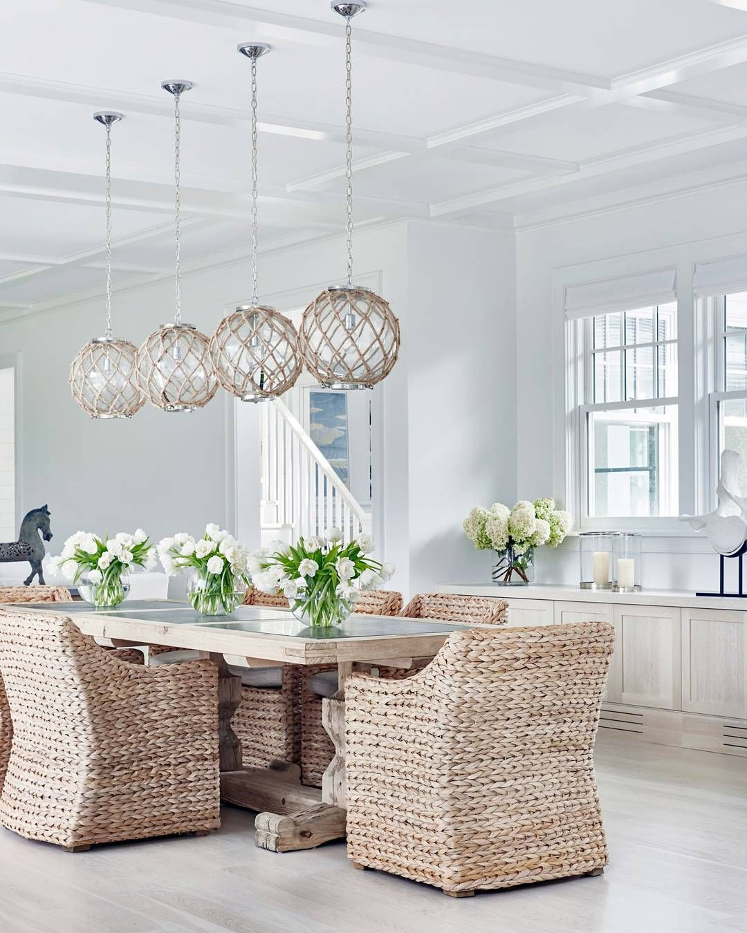 Coastal Dining Room Love The Light Fixtures With Images