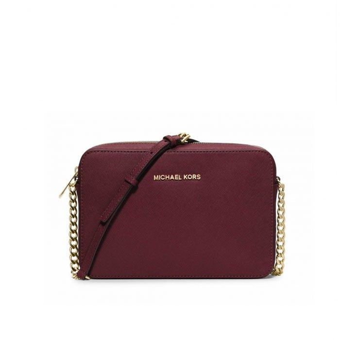 cbe2bc95533e MICHAEL Michael Kors Jet Set Large Saffiano Leather Crossbody Bag Burgundy