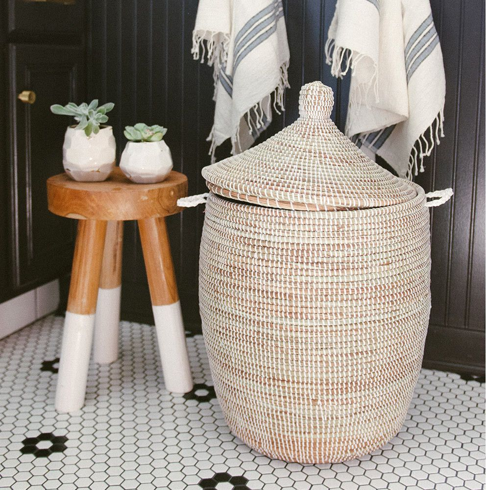 african basket hamper white medium inside bathroom