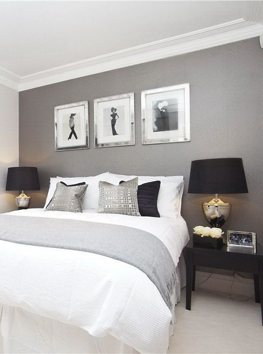 Clean grey walls with black and white theme, master bedroom idea. Love  those lamps
