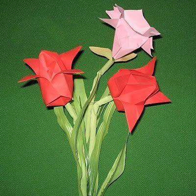 step by step bastel anleitung blume tulpe aus papier falten - Blumen Falten Aus Papier