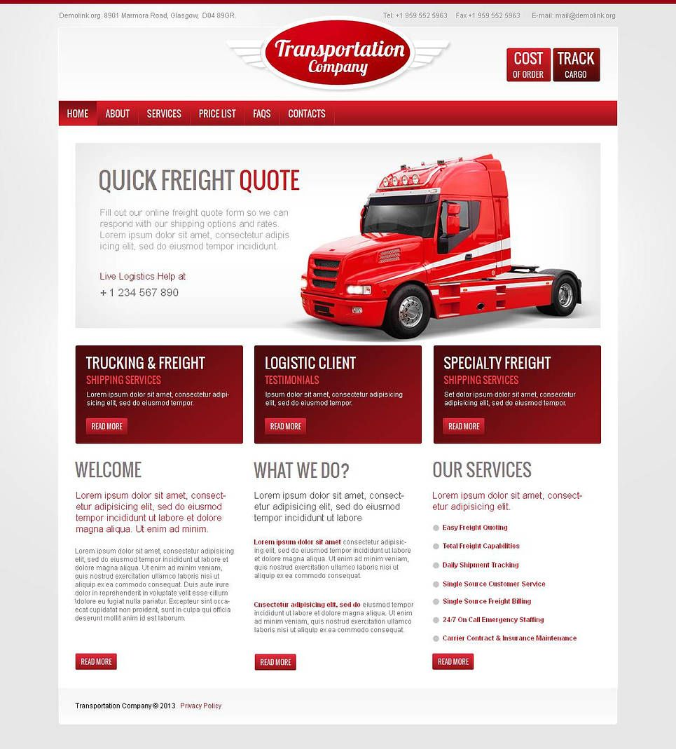 trucking moto cms html template 43817 website template. Black Bedroom Furniture Sets. Home Design Ideas