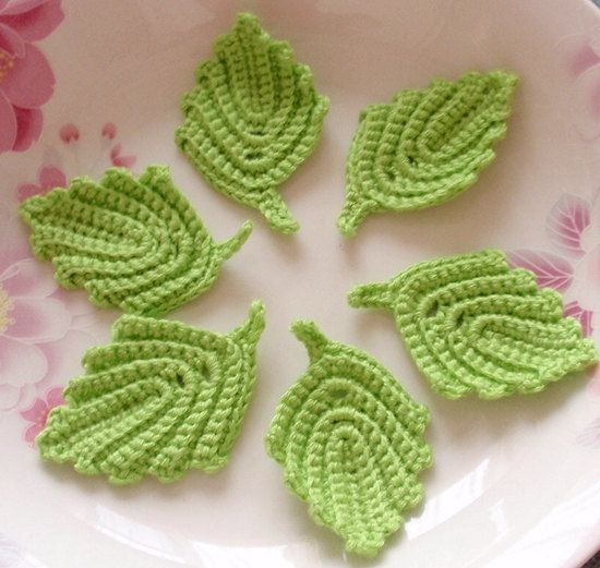 6 Crochet Leaves In Lime Green Yh 217 01 Häkeln Pinterest