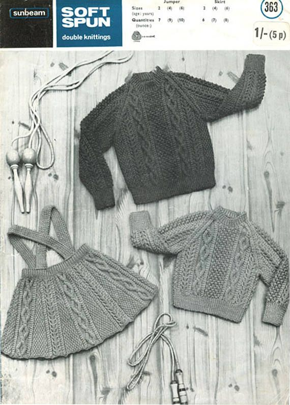 PDF Vintage Baby Girl Knitting Pattern Toddler Pinafore Dress ARAN ...