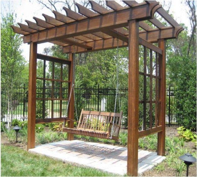 Pergola arbor swing set plans pinterest swing set for Diy wood swing set designs
