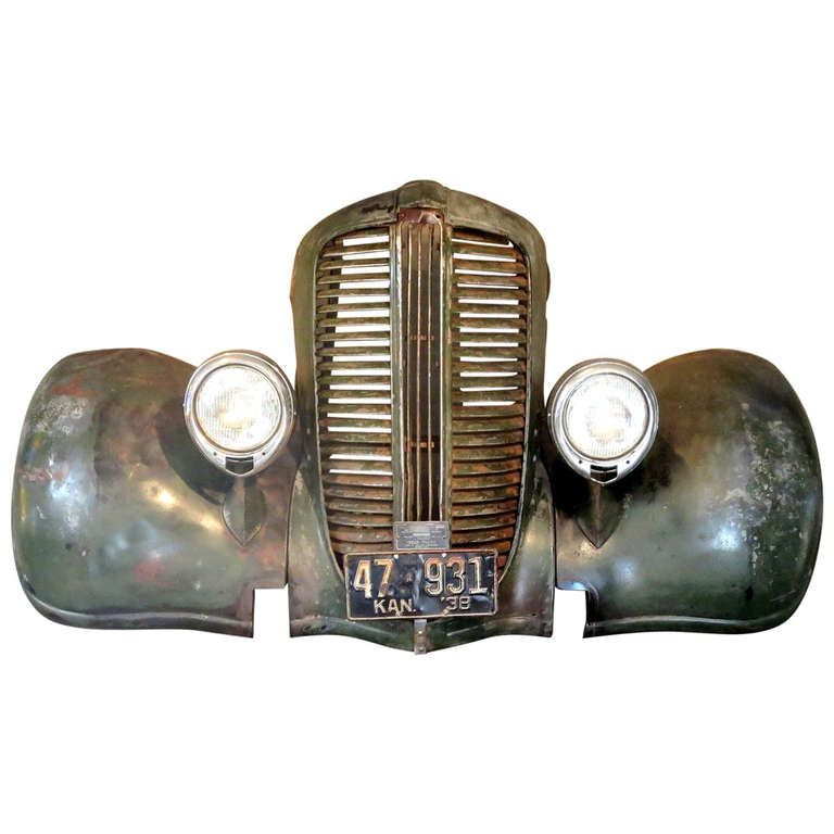 1938 Dodge Truck Front End Wall Mount | From a unique collection of antique and modern wall-mounted sculptures at https://www.1stdibs.com/furniture/wall-decorations/wall-mounted-sculptures/