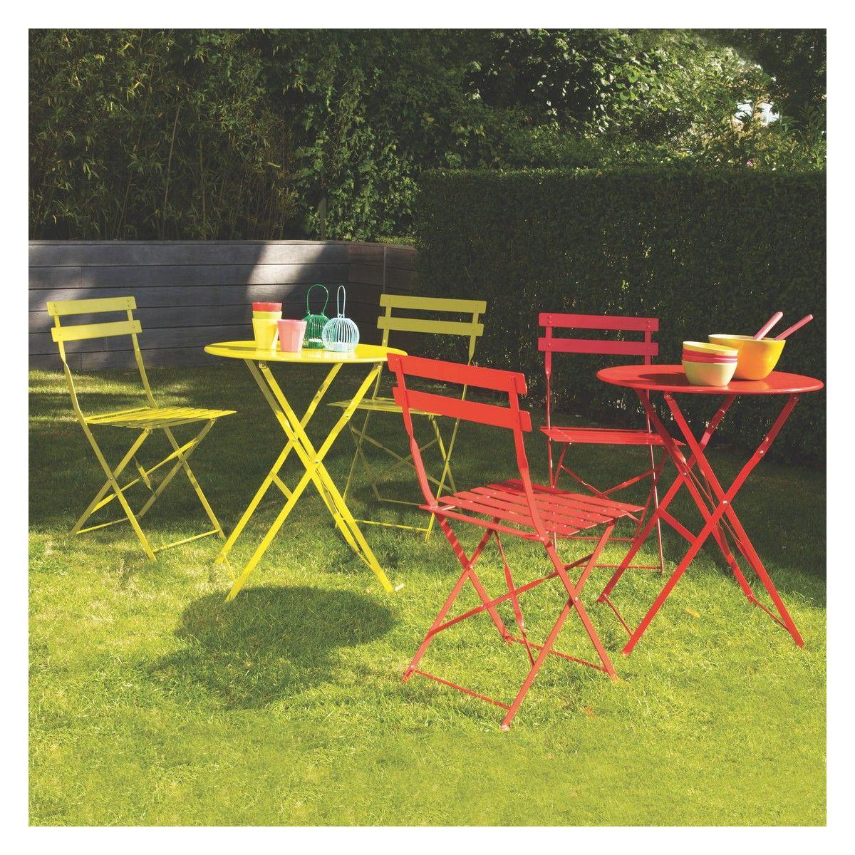 PARC Saffron yellow metal folding garden bistro set | Backyard ...