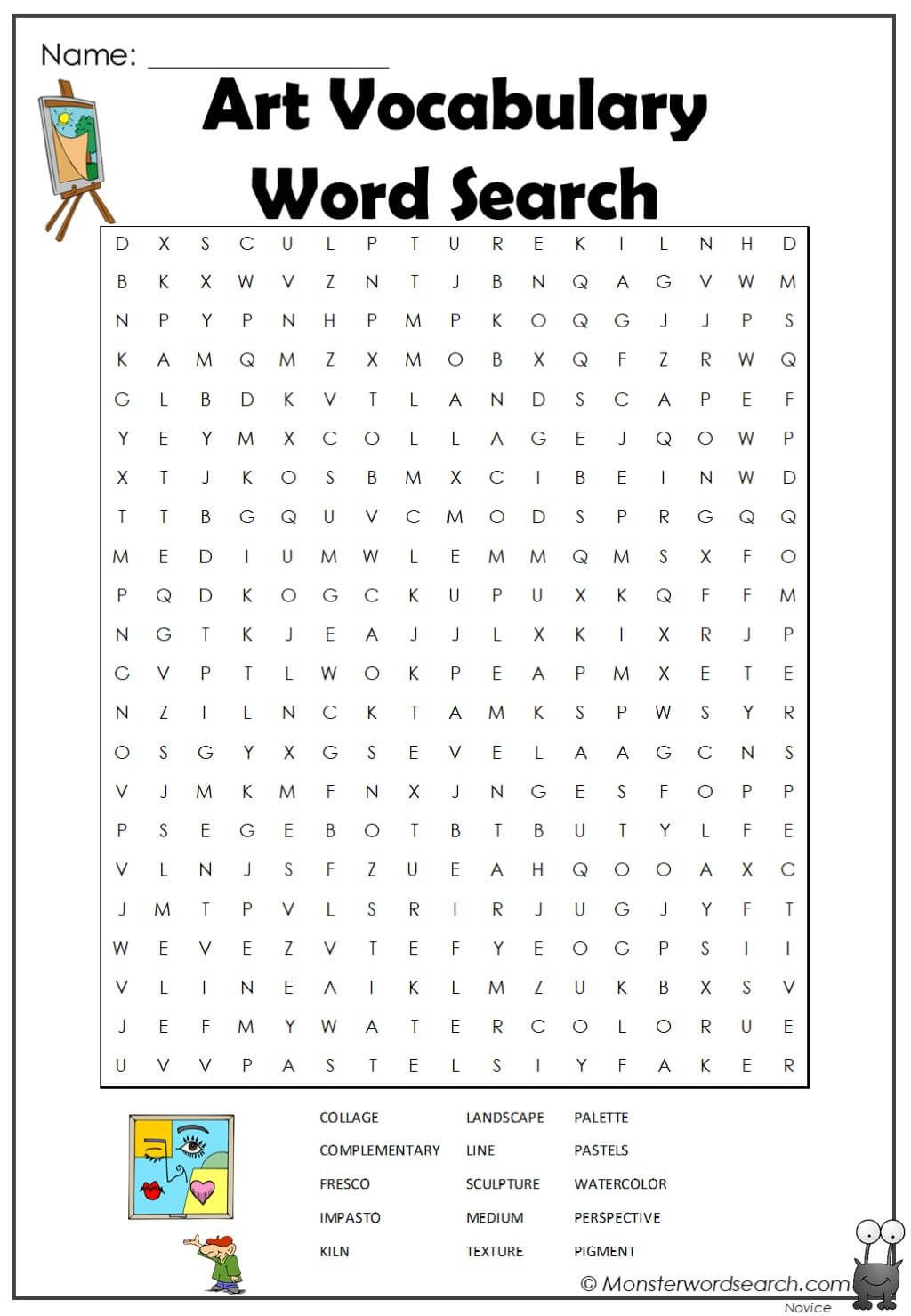 Art Vocabulary Word Search In