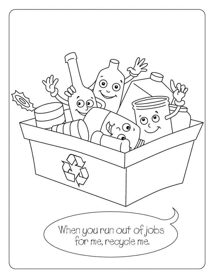 Kid With Recycling Box Recycle Kid Coloring Pages