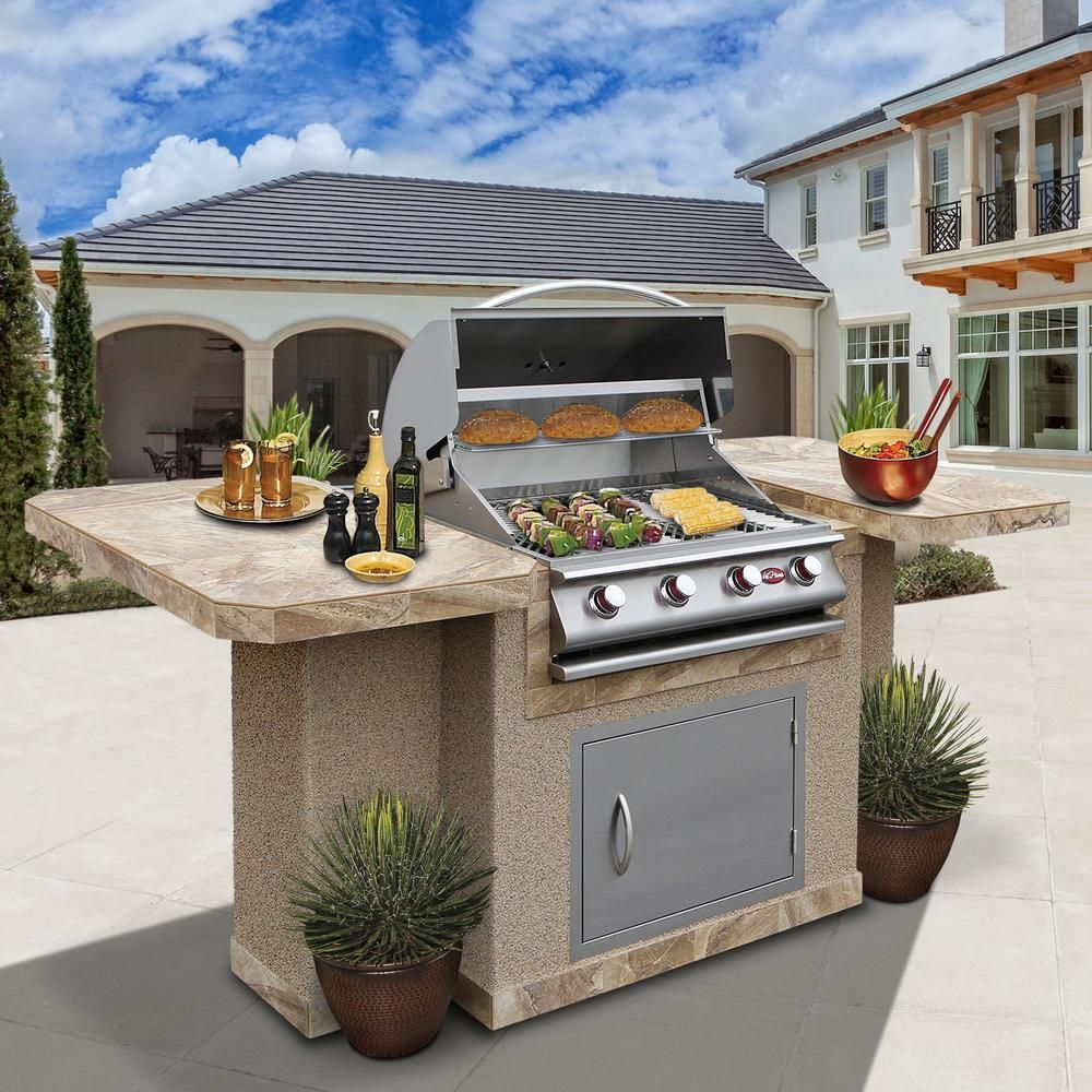Cal Flame 4 Burner Stainless Steel Propane Grill Island With 27 In Access Door Bistro 404 Grill Island Outdoor Barbeque Outdoor Kitchen Design