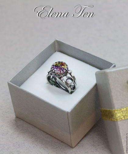 """Кольца ручной работы. Ярмарка Мастеров - ручная работа. Купить Серебряное кольцо с фианитом """"АРЛЕКИН"""". Handmade. Комбинированный, кольцо для женщины"""