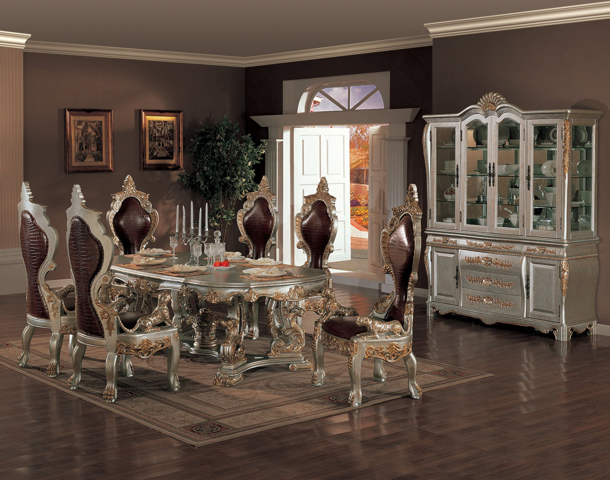 Dining room furniture buffet - Dining Room With Buffet Table Elegant And Ornate Wood Dining Set With Acanthus Leaf Details