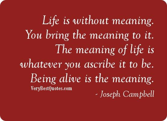 Being alive is the meaning