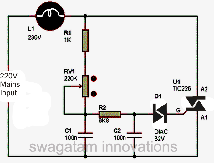 Simple Triac Dimmer Switch Circuit Electronic Circuit Projects Electrical Circuit Diagram Dimmer Light Switch