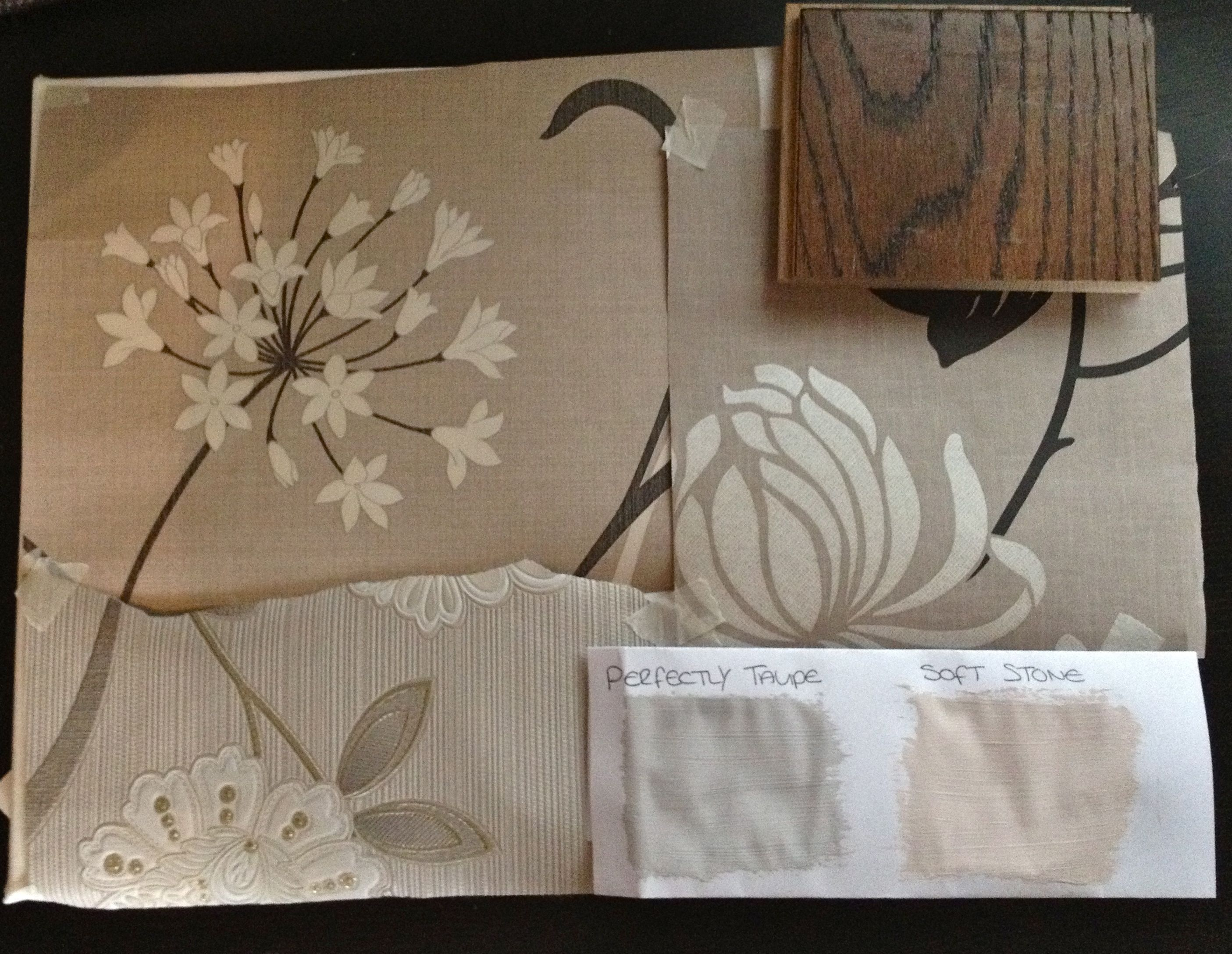 Dream box sample board wallpaper paint taupe for Taupe wallpaper living room