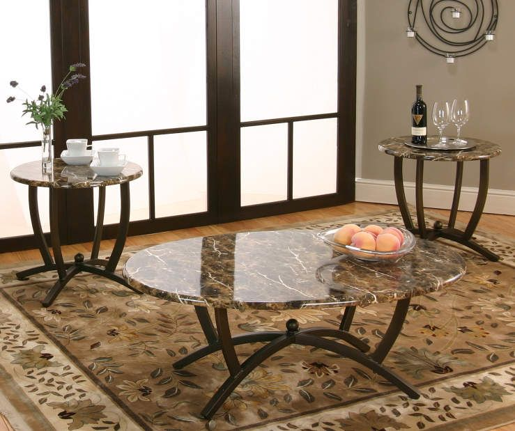 Brown Faux Marble 3 Piece Occasional Table Set Big Lots Occasional Table Faux Marble Coffee Table Living Table