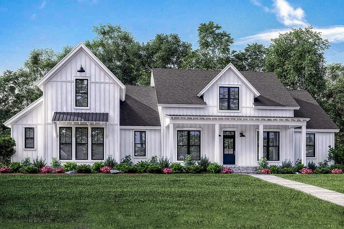 Plan 51773hz 4 bed modern farmhouse with bonus over for Modern farmhouse cost to build
