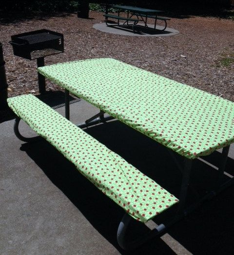 Custom Fitted Picnic Or Camping Tablecloth Bench Set Stay Put