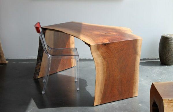 Meubles bois brut bureau avec chaise en plastique